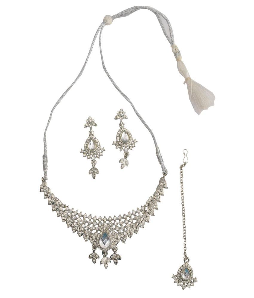 Taj Pearl Alloy Silver Statement Traditional Silver Plated Necklaces Set