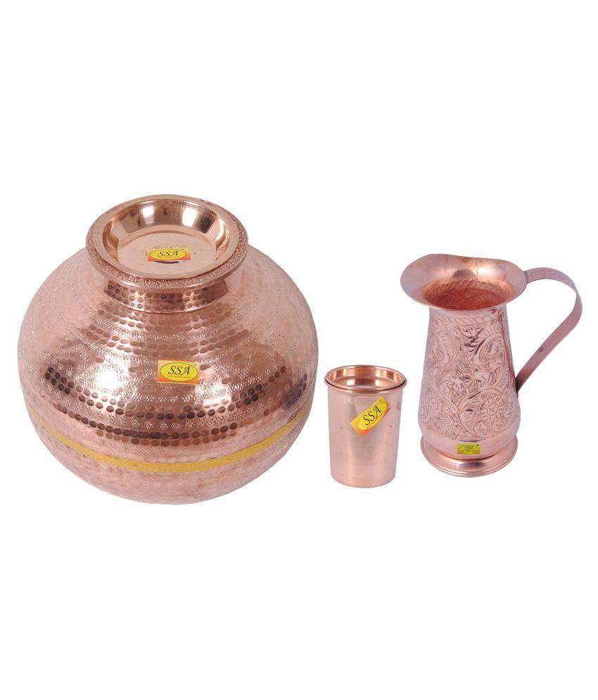 Shiv Shakti Arts Copper Matka 15Litre 3 Pcs Jug and Glass Combo