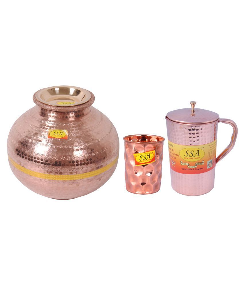 Shiv Shakti Arts Copper Matka 7 Litre 3 Pcs Jug and Glass Combo
