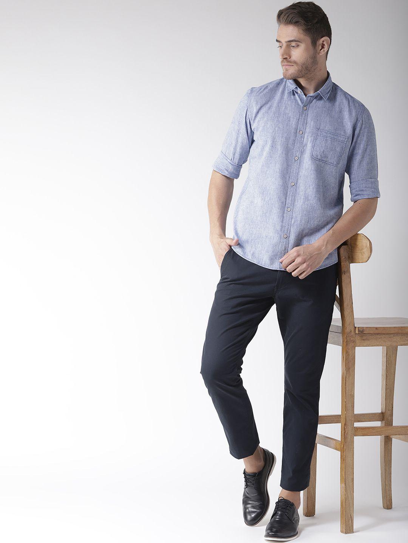 Richlook 100 Percent Cotton Blue Solids Shirt