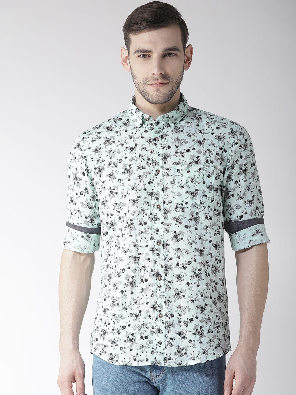 Richlook 100 Percent Cotton Green Prints Shirt