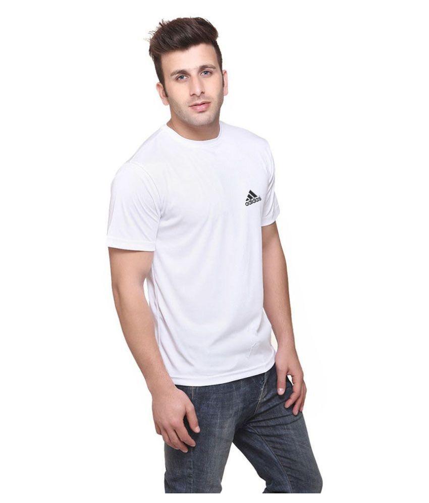 Adidas White Cotton Lycra T-Shirt