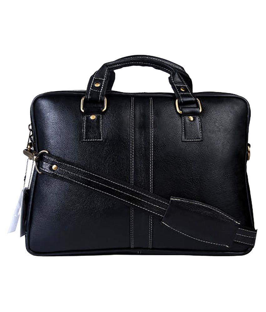 Carry Trip Black Leather Office Messenger Bag