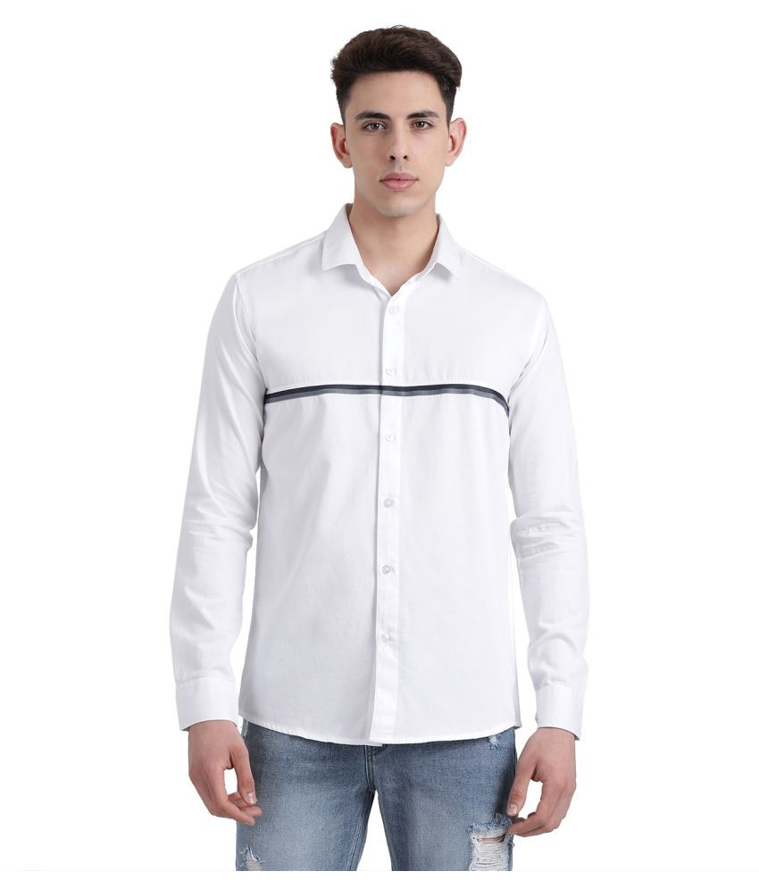 Realm 100 Percent Cotton White Solids Shirt
