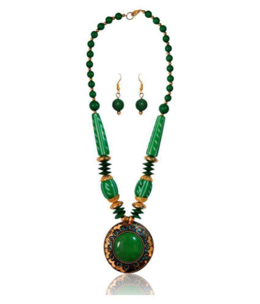 Renaissance Traders Ceramic Green Statement Designer Titanium Plated Necklaces Set