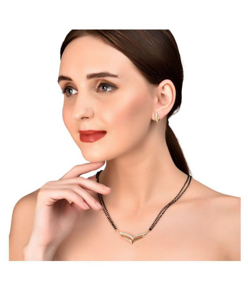 Touchstone gold tone Indian bollywood white rhinestones black beads ethnic mangalsutra necklace set jewelry for women