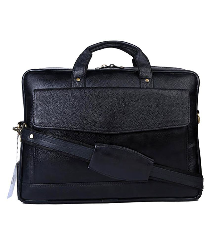 Carry Trip Black Leather Office Messenger Bag