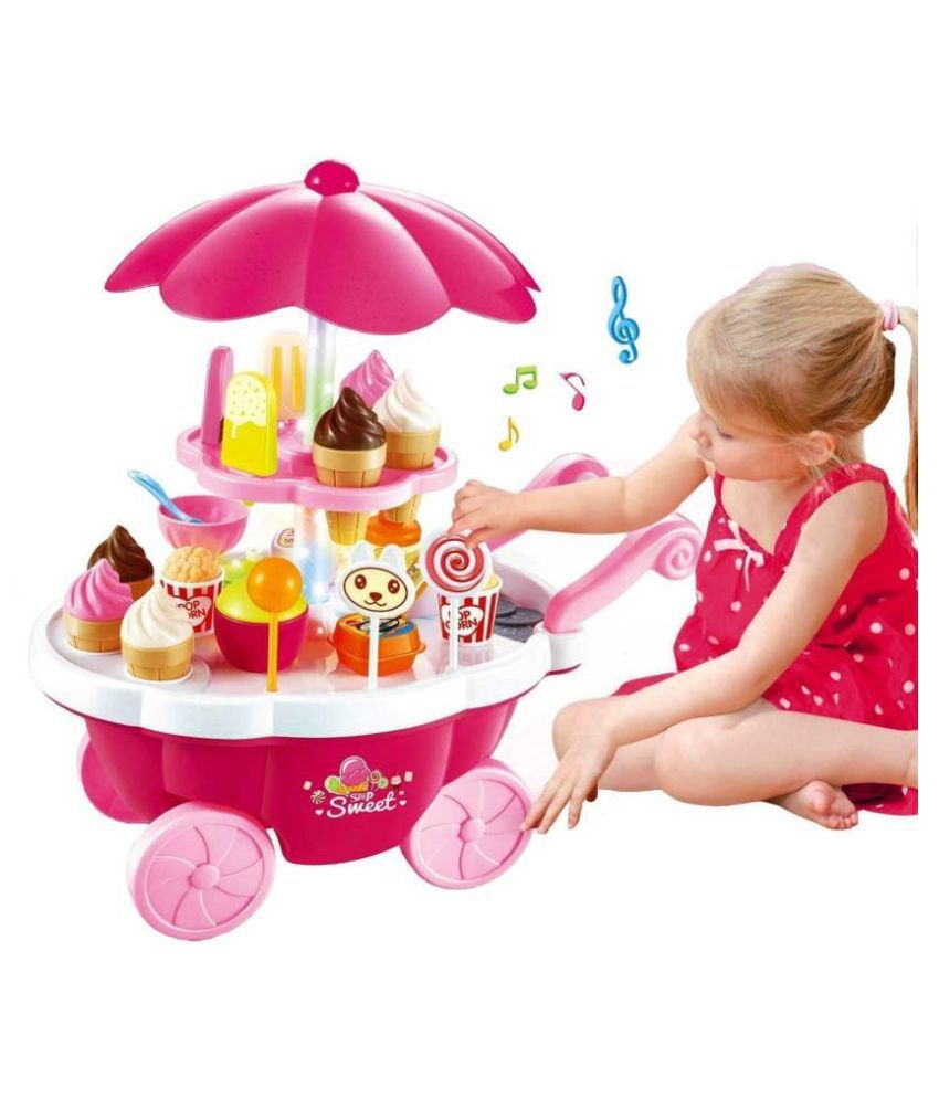 Ice Cream Kitchen Play Cart Kitchen Set Toy with Lights and Music (BIG)