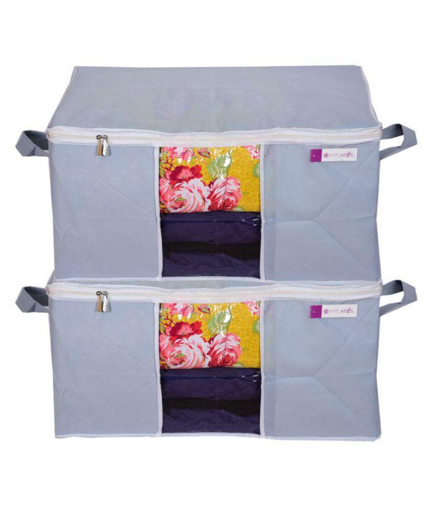 Prettykrafts Set of 2 Underbed Storage Bag, Storage Organizer, Blanket Cover with Side Handles - Grey