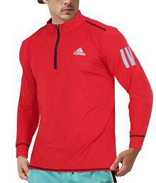 Adidas Red Full Sleeve T-Shirt