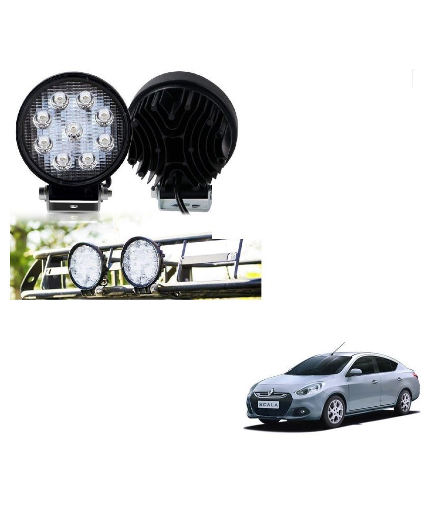 Auto Addict DEVICE 4 inch, 9 LED 27Watt Round Fog Light with Flood Beam Auxiliary Lamp Set Of 2 Pcs For Renault Scala