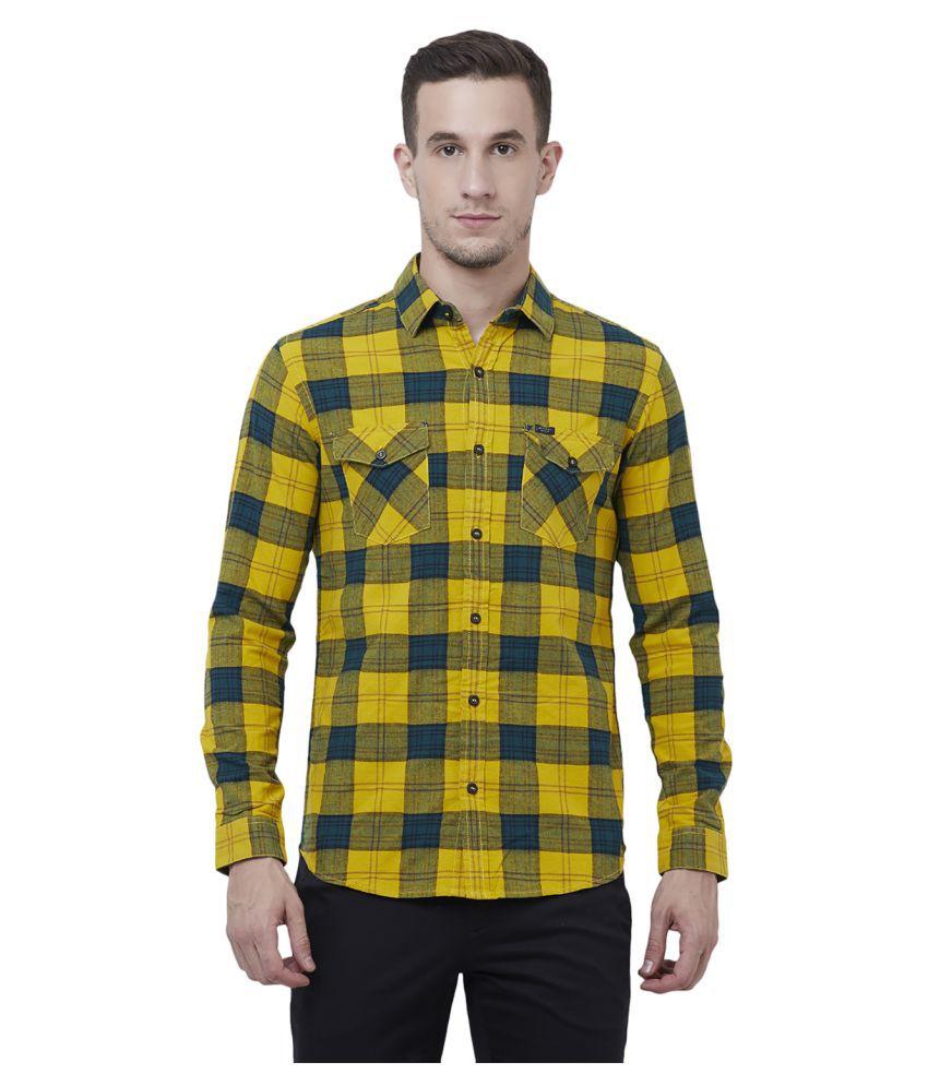 Mufti Cotton Blend Yellow Checks Shirt