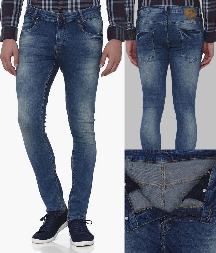 Mufti Dark Blue Skinny Jeans