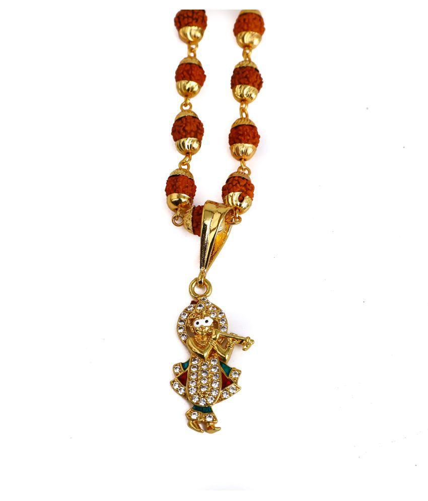 DIPALI Imitation Rudraksh Mala With Gold Plated KRISHNAJI Inspired Pendant Set For Men BoyS