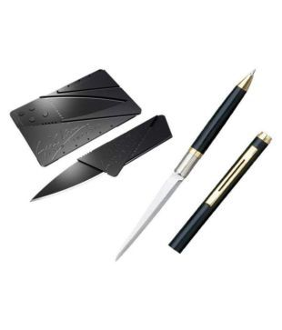 WIB PEN KNIFE Black With Foldable Multi Purpose Stainless Steel Pocket Army Safety 2 Function Multi Utility Swiss Knife