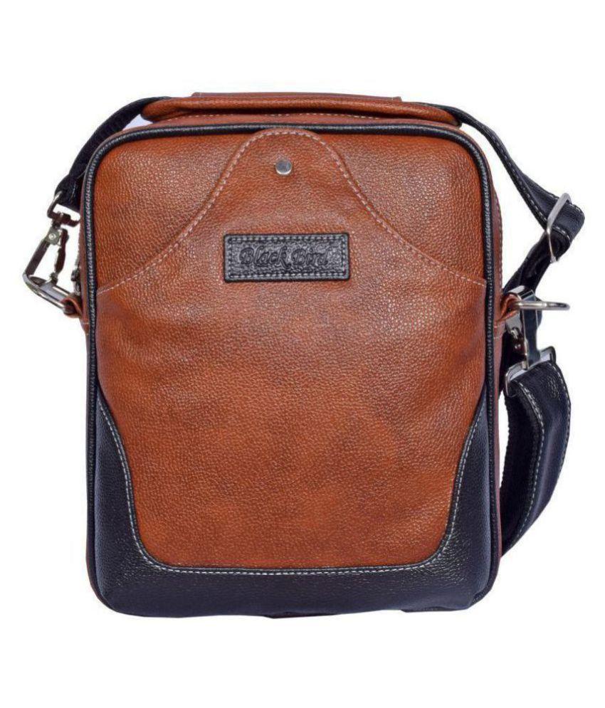 Black Bird Brown Synthetic Office Messenger Bag