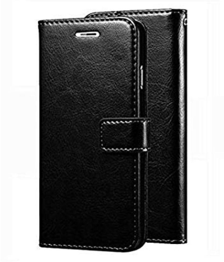 Oppo F11 pro Flip Cover by KOVADO - Black Original Vintage Look Leather Wallet Case