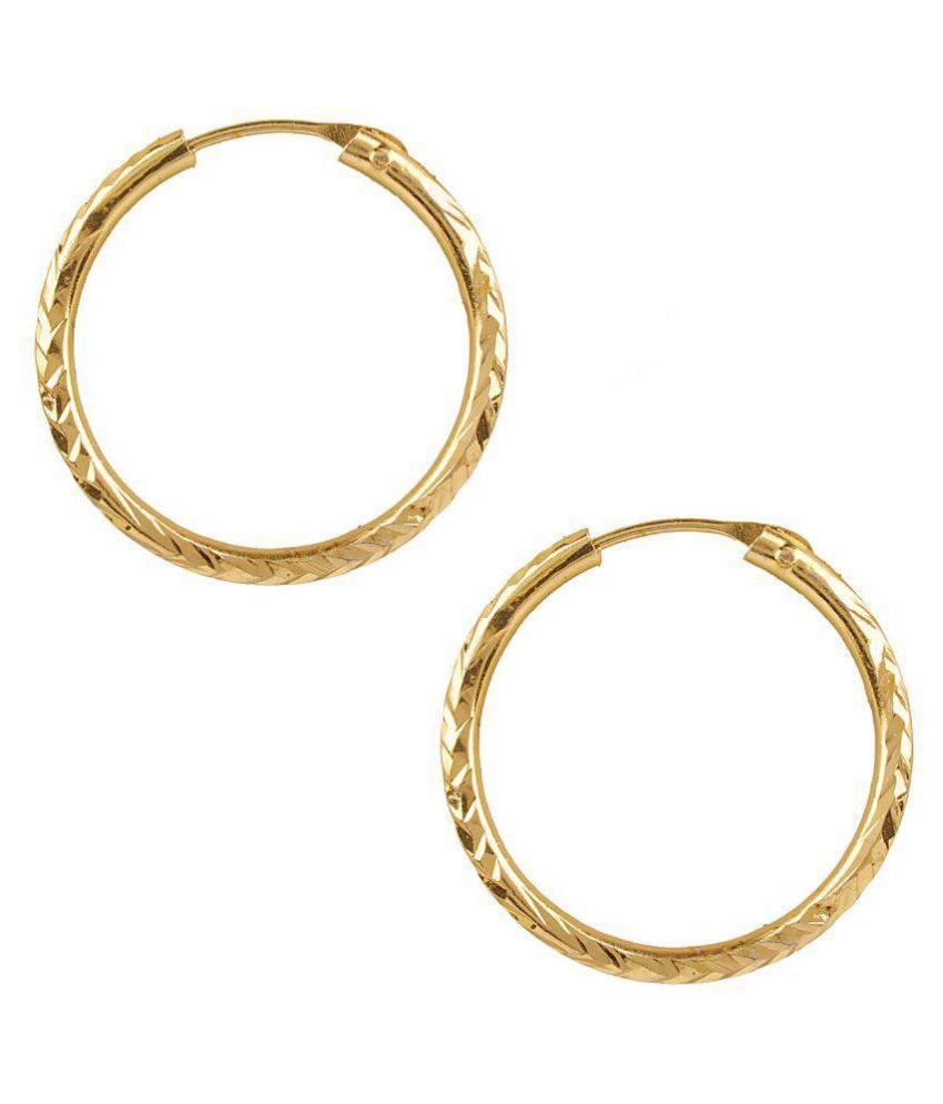 Shining Jewel Gold Bali Hoop Earrings For Women Sj 1483