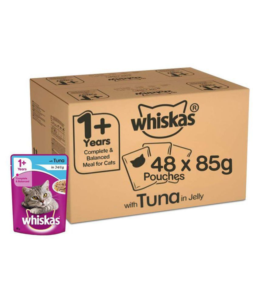 Whiskas Super Saver Pack, Adult Wet Cat Food (+1 Year) Tuna in Jelly 4.08 kg (85g x 48 Pouches)