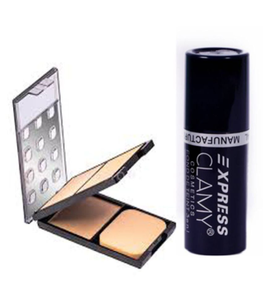 clamy 3 in 1 Compact Pressed Powder + 3 in 1 Concealer Stick 10 g