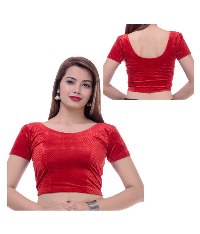 Bulbul Red Velvet Readymade without Pad Blouse