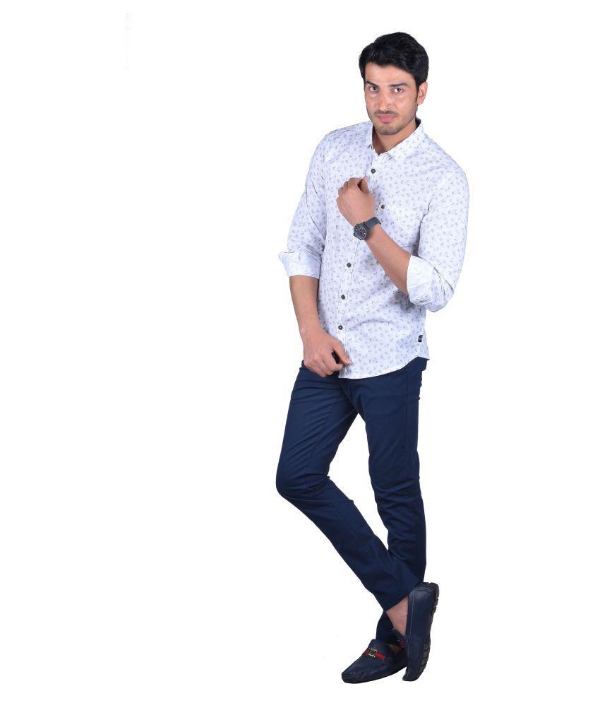 Urbantouch 100 Percent Cotton Grey Prints Shirt