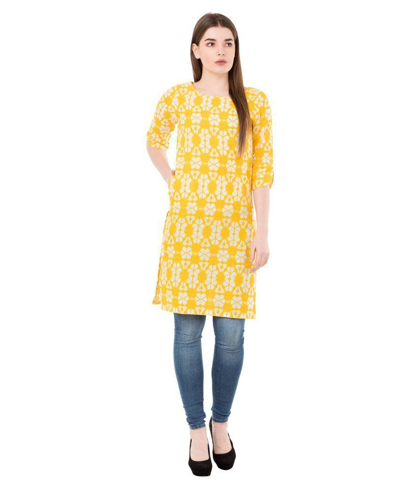 GMI Yellow Cotton Straight Kurti