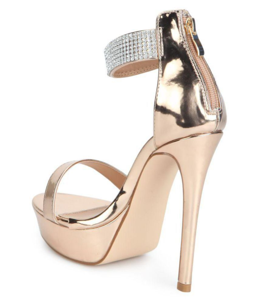 utterly stylish wholesale dealer latest design Truffle Collection Gold Platforms Heels