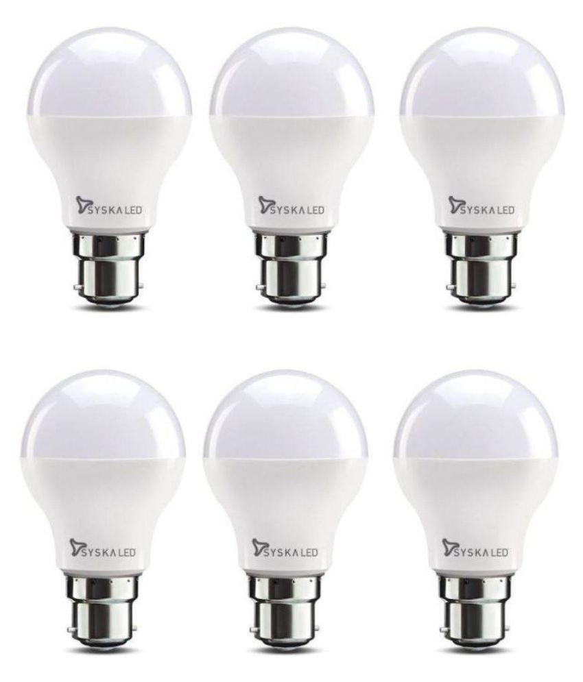 Syska 9W LED Bulbs Cool Day Light   Pack of 6