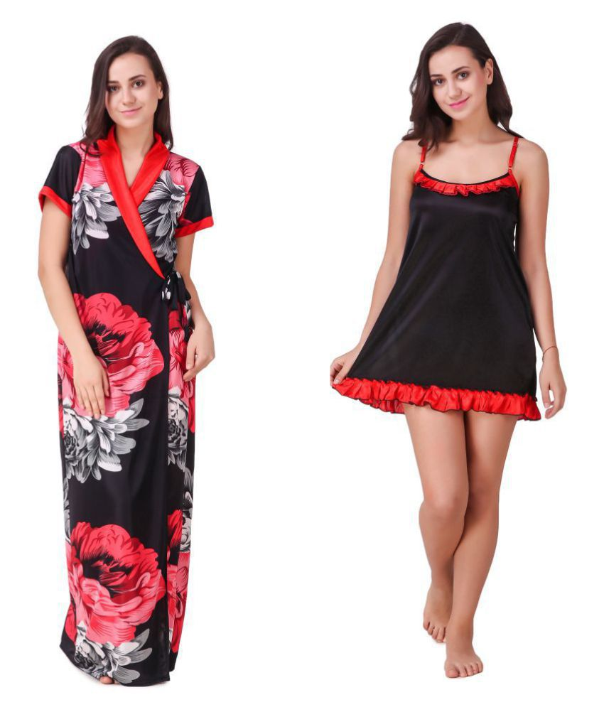 Trost Satin Nighty & Night Gowns - Red