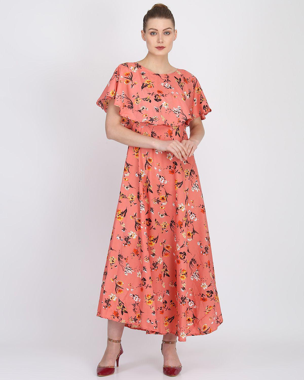 Raghumaya Crepe Orange Fit And Flare Dress