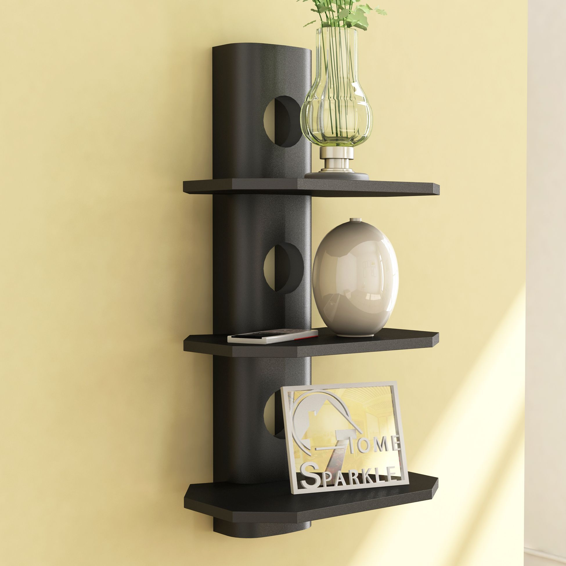 Home Sparkle MDF 3 Tier Round Shelf For Wall Décor -Suitable For Living Room/Bed Room (Designed By Craftsman)