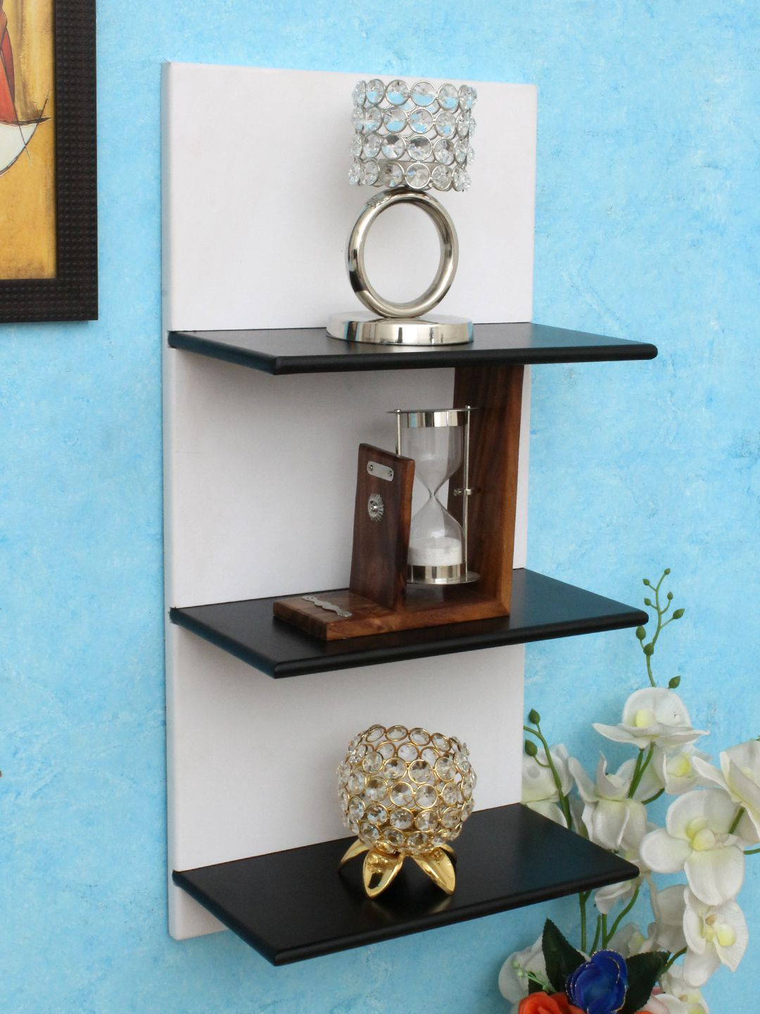 Home Sparkle MDF 3 Tier Wall Shelf For Wall Décor -Suitable For Living Room/Bed Room (Designed By Craftsman)