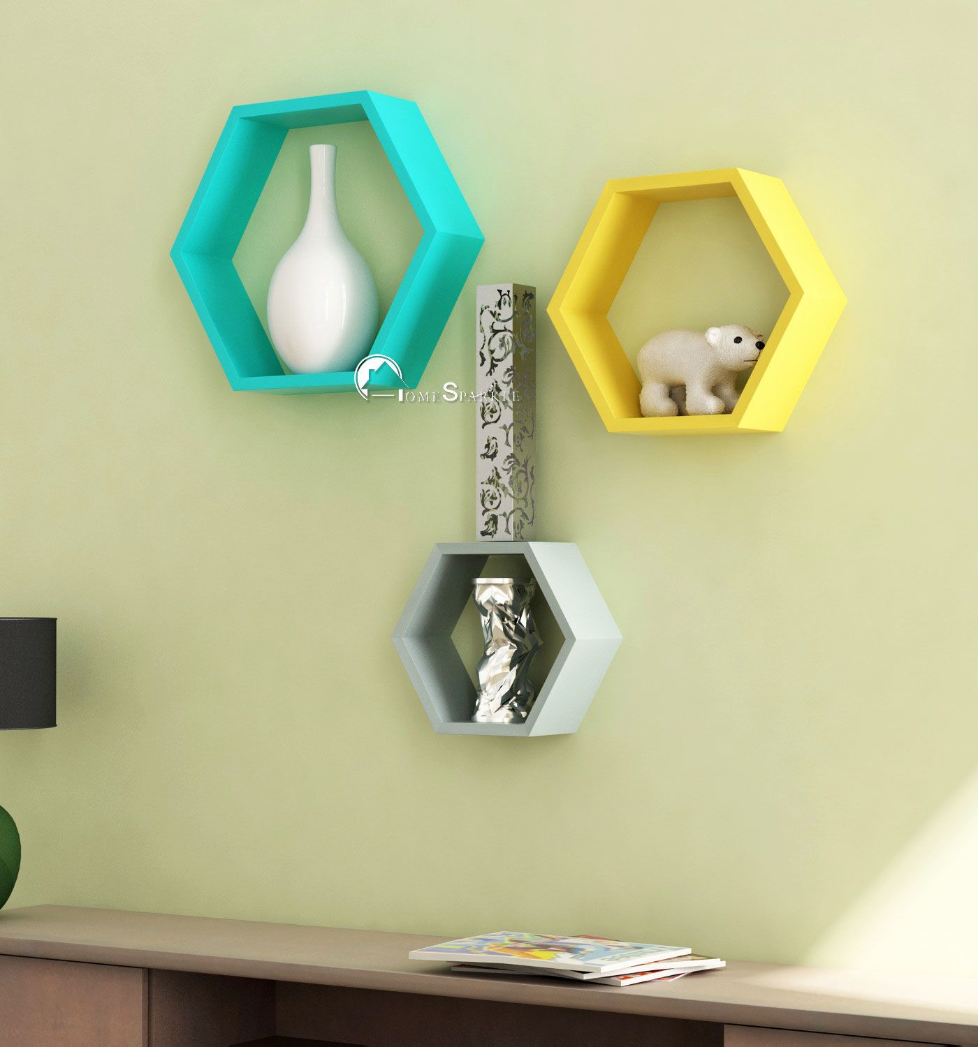 Home Sparkle MDF Hexagonal Wall Racks For Wall Décor -Suitable For Living Room/Bed Room (Designed By Craftsman)