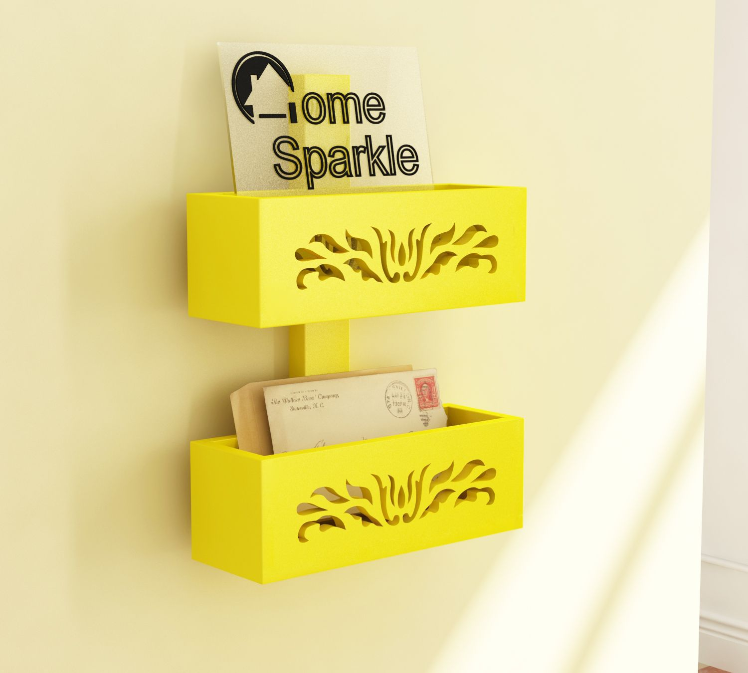 Home Sparkle MDF Magazine Rack For Wall Décor -Suitable For Living Room/Bed Room (Designed By Craftsman)