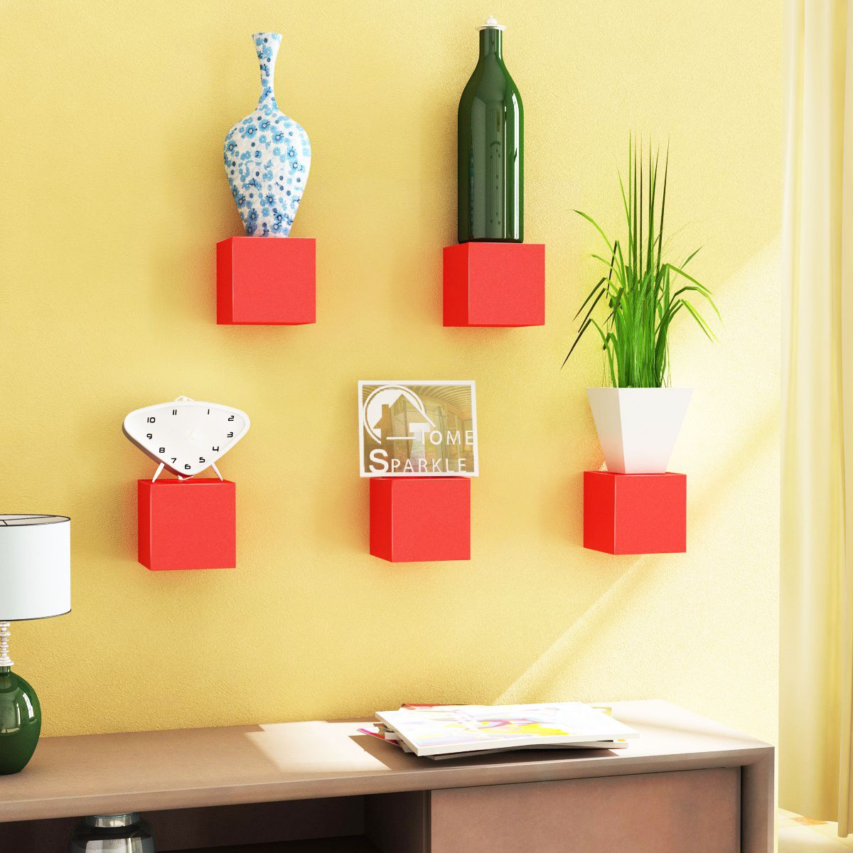 Home Sparkle MDF Set of 5 Cubes Shelf For Wall Décor -Suitable For Living Room/Bed Room (Designed By Craftsman)