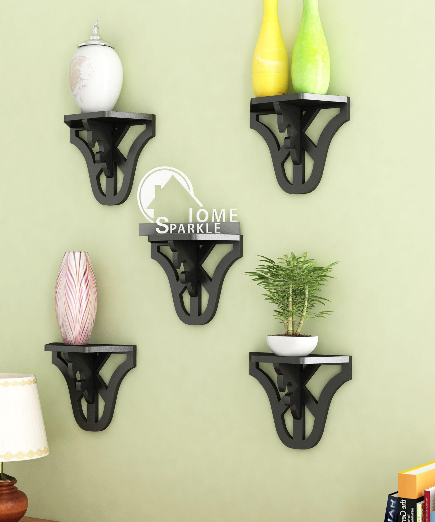 Home Sparkle MDF Set of 5 Carved Shelf For Wall Décor -Suitable For Living Room/Bed Room (Designed By Craftsman)