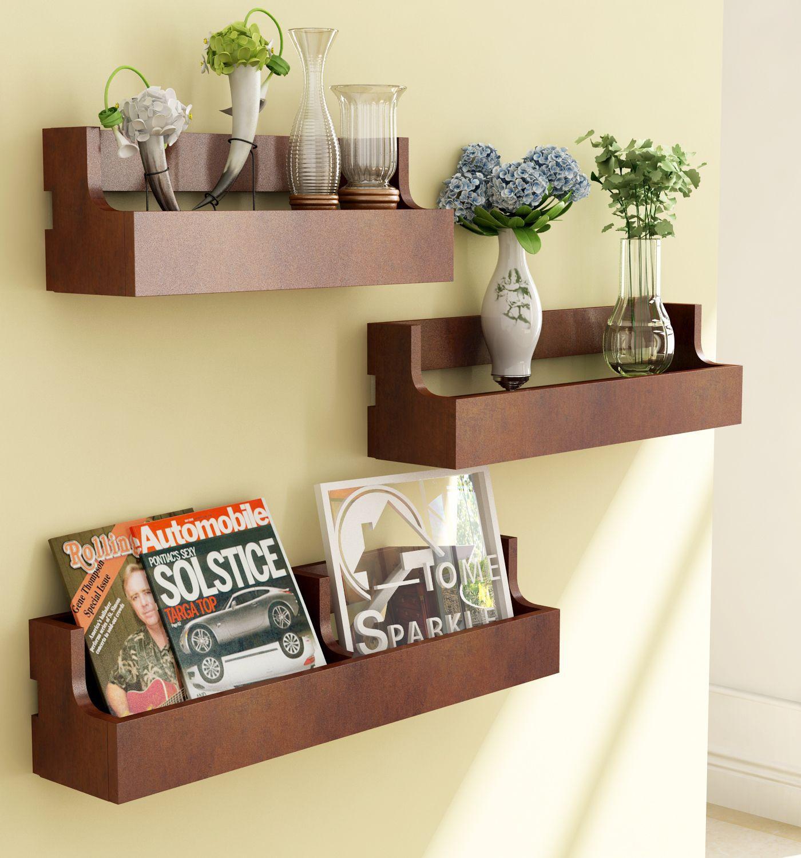 Home Sparkle MDF Set of 3 Pocket Shelf For Wall Décor  Suitable For Living Room/Bed Room  Designed By Craftsman