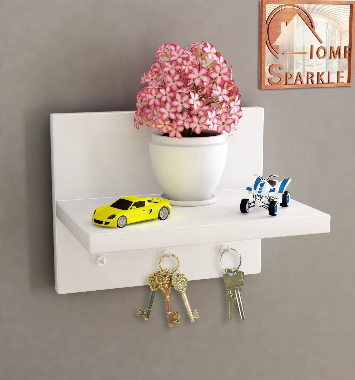 Home Sparkle MDF Wall Shelf Cum Key holder For Wall Décor  Suitable For Living Room/Bed Room  Designed By Craftsman