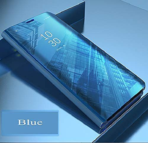 Samsung Galaxy A8 Plus Flip Cover by ClickAway - Blue Electroplated Semi Clear View Smart Flip Cover