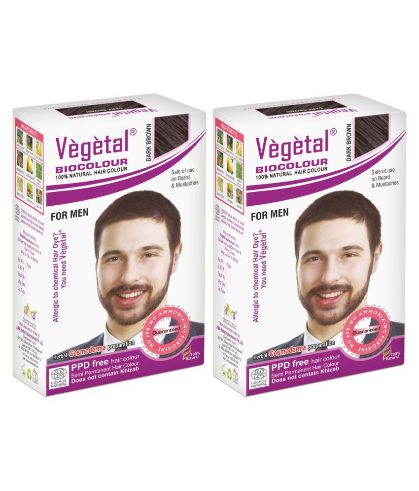 Vegetal Semi Permanent Hair Color Dark Brown 25 g Pack of 2