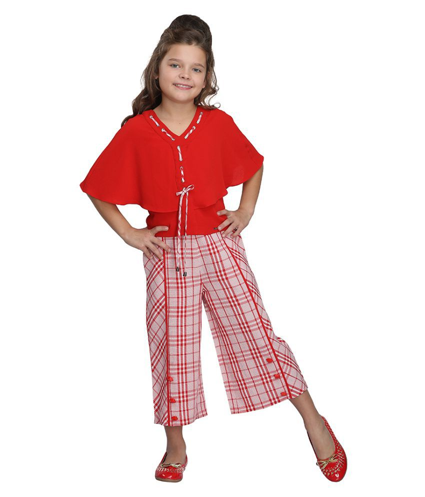 Cutecumber Girls Partywear Georgette Top with Cotton Culottes