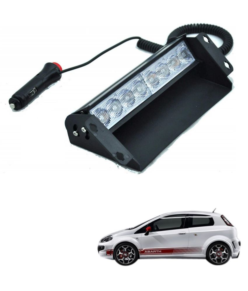 Auto Addict Car 8 LED Police Lights Flasher Light Red Blue Interior Lighting For Fiat Abarth