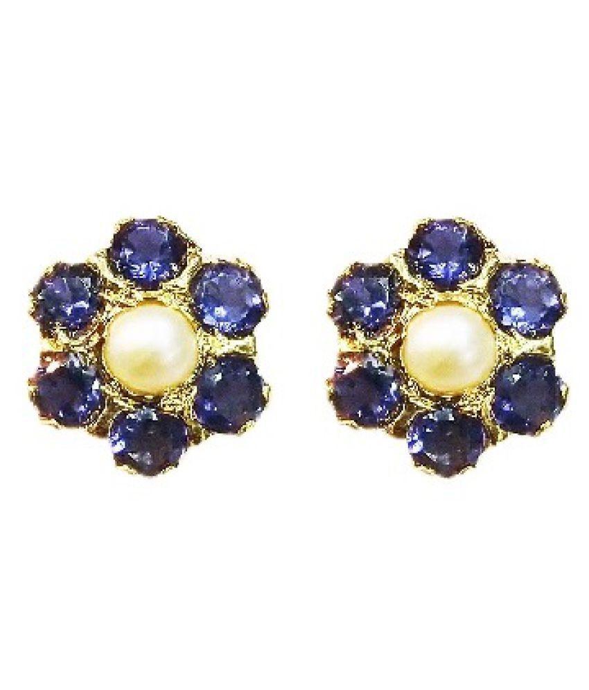 vinayak pearl and iolite sober cluster earring