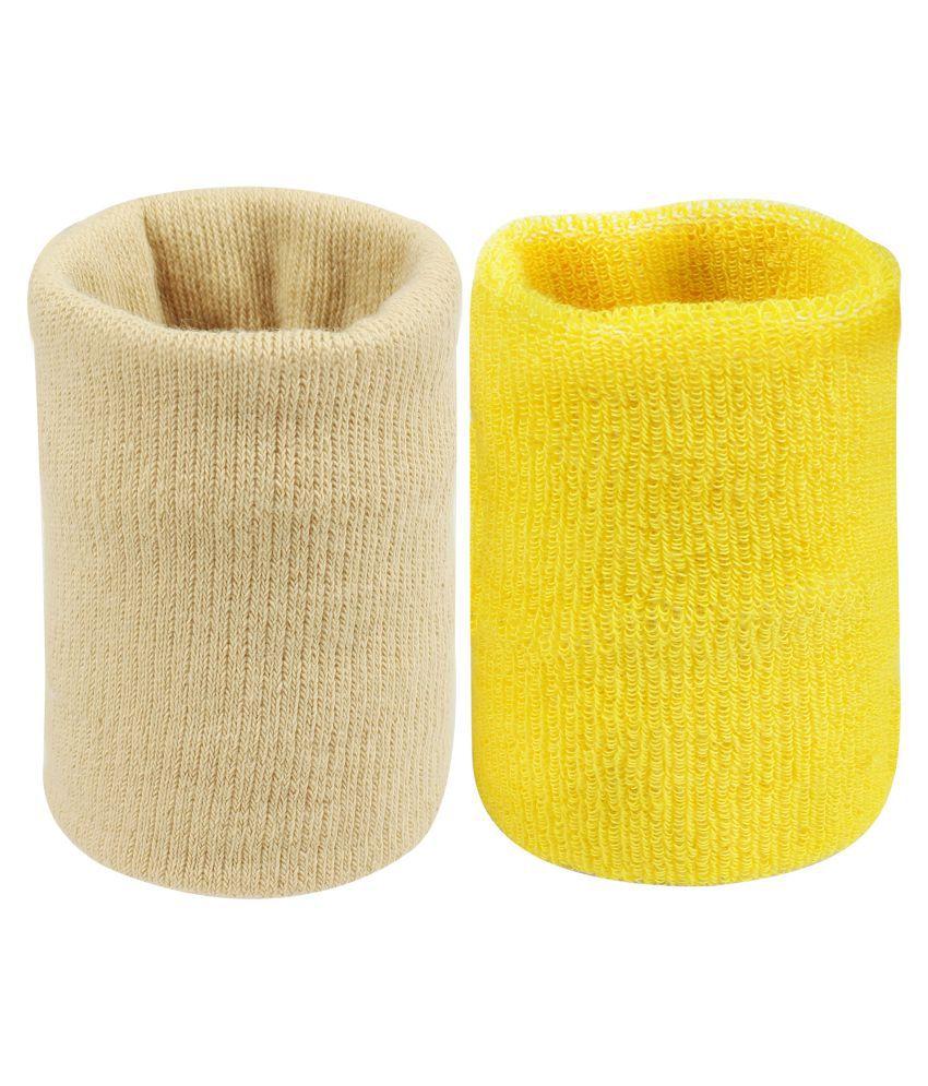 Neska Moda Unisex Beige And Yellow Pack Of 2 Cotton Wrist Band