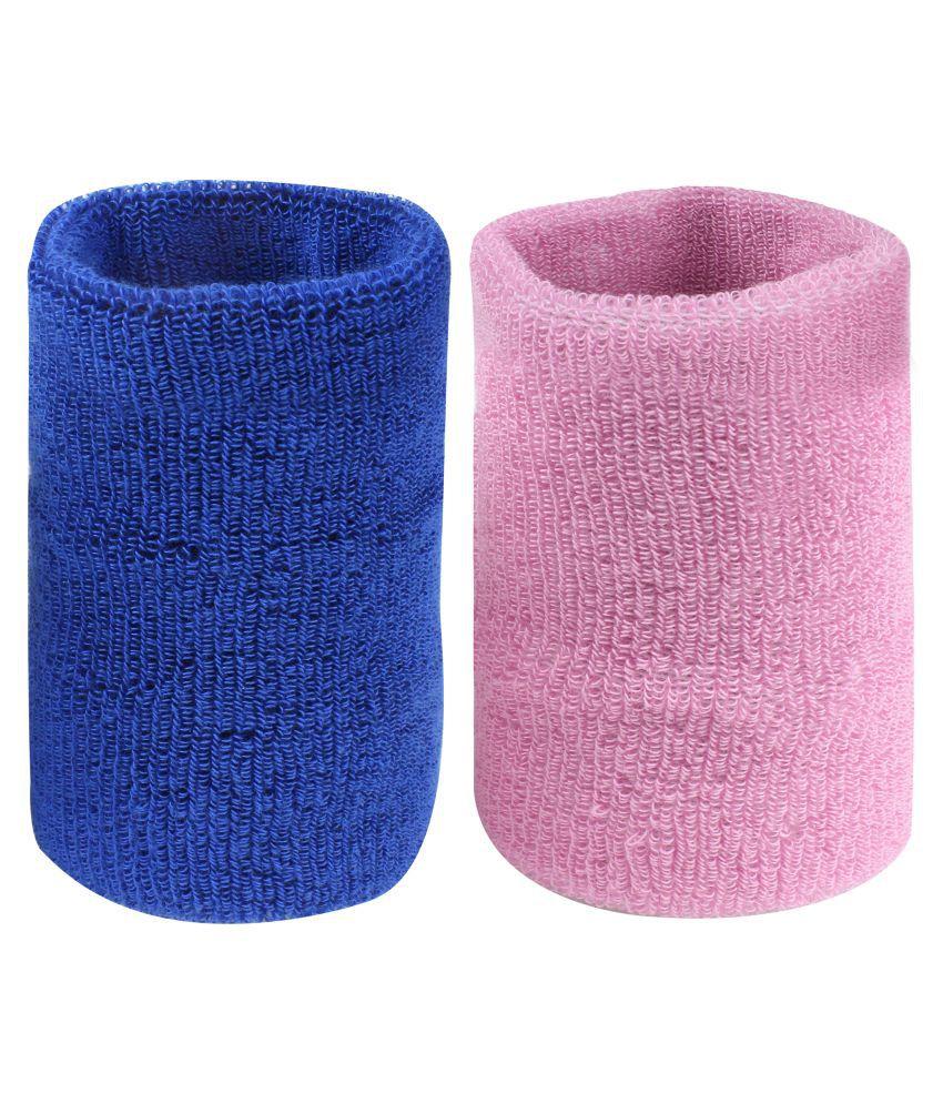 Neska Moda Unisex Navy And Pink Pack Of 2 Cotton Wrist Band