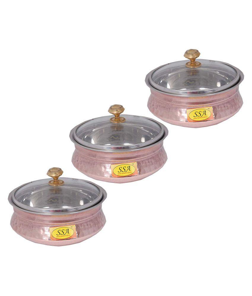 Shiv Shakti Arts Copper Handi BowlNo2 3 Piece Cookware Set