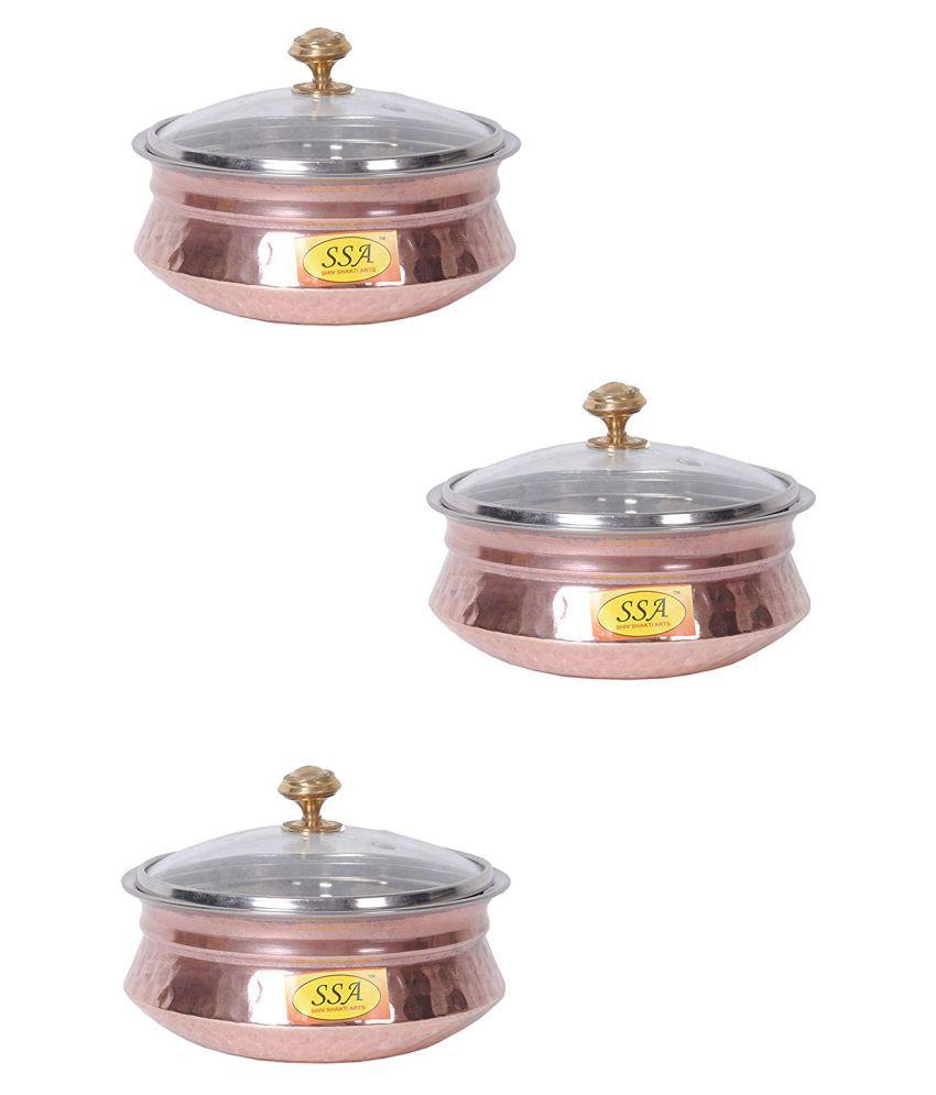 Shiv Shakti Arts Copper Handi BowlNo1 3 Piece Cookware Set