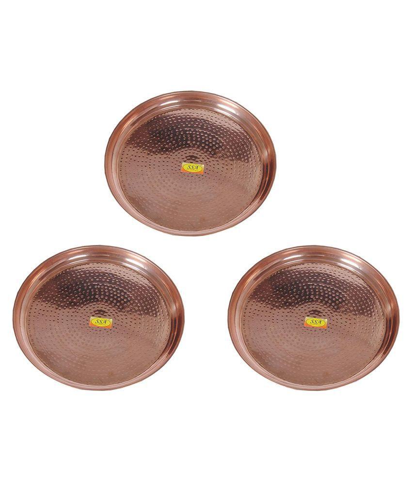 Shiv Shakti Arts Dinnewware Plates Copper Dinner Set of 3 Pieces