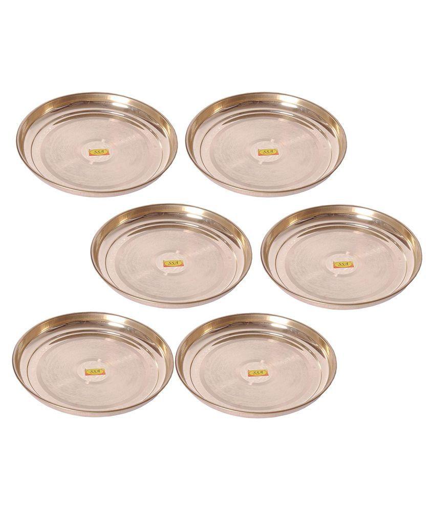 Shiv Shakti Arts Dinnewware Plates Brass Dinner Set of 6 Pieces